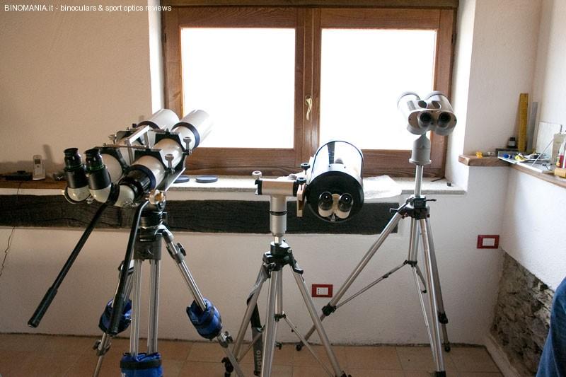 a partire da sinistra: binoscopio 102D, Telescopio Celestron C 9.25 con visore binoculare, binocolo Kowa Highlander Prominar