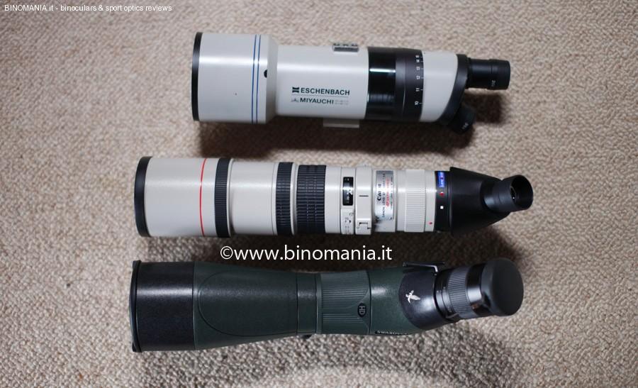 A partire dal basso: Swarovski ATM 80 HD, Canon AF L 400 F 5.6, con Lens2Scope ed un vecchio cannocchiale Eschenbach Miyauchi M