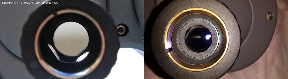 A sinistra l'apertura da 25mm del precedente modello (cortesia: Bill Faatz) a destra, l'apertura diaframmata a 21.5mm