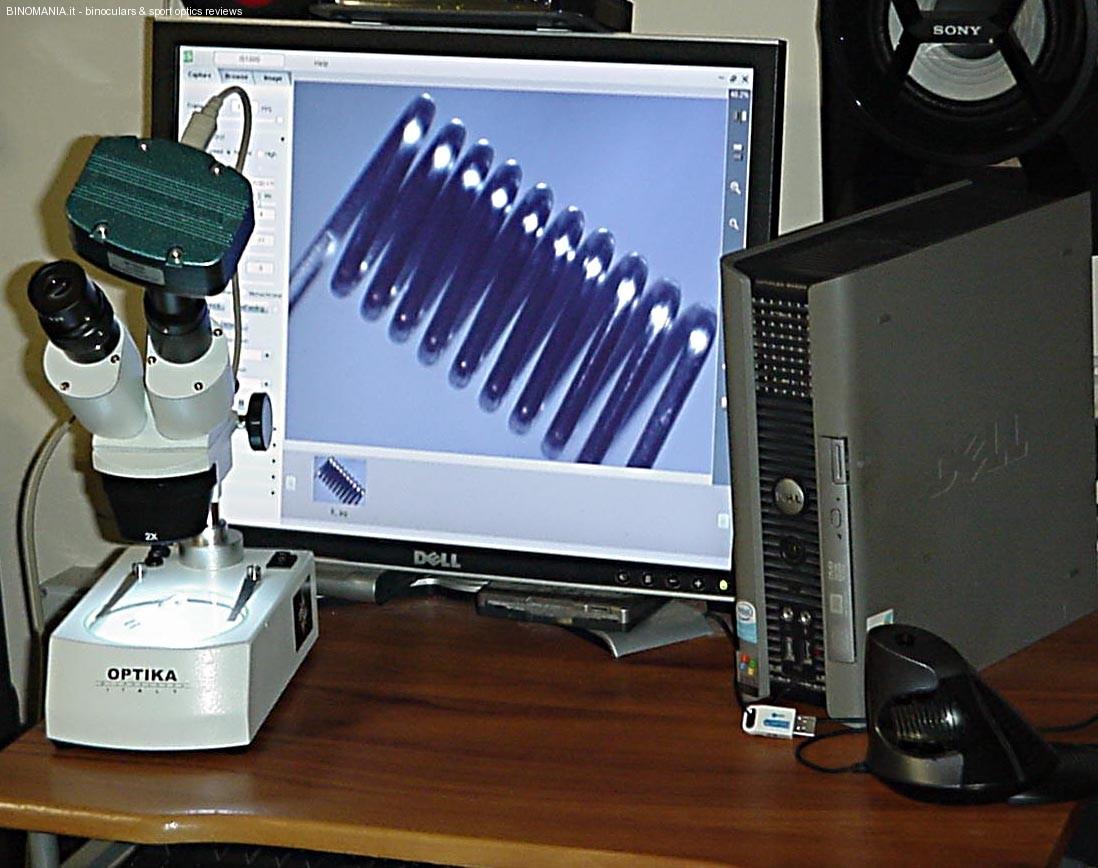 Lo stereo microscopio collegato al PC con una telecamera