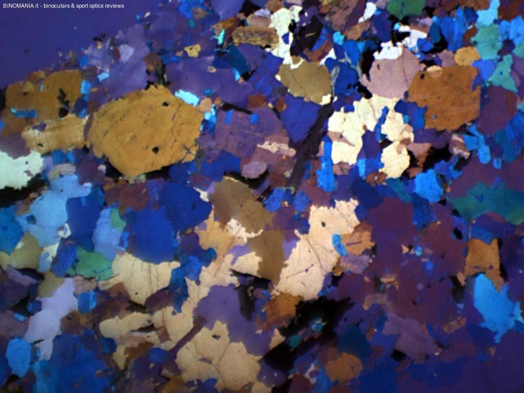Sottile fetta di  granito, ogni minerale diverso, presenta un diverso colore.