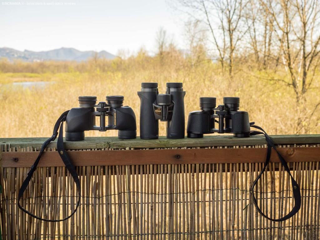 da sinistra: Nikon SE 8x32, Nikon EDG 8x32, NIkon 8x30 E II