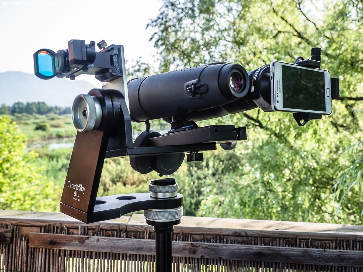 """Il 12x60 HB in versione """"digibinning"""" durante una prova nell'oasi  Lipu di Brabbia."""