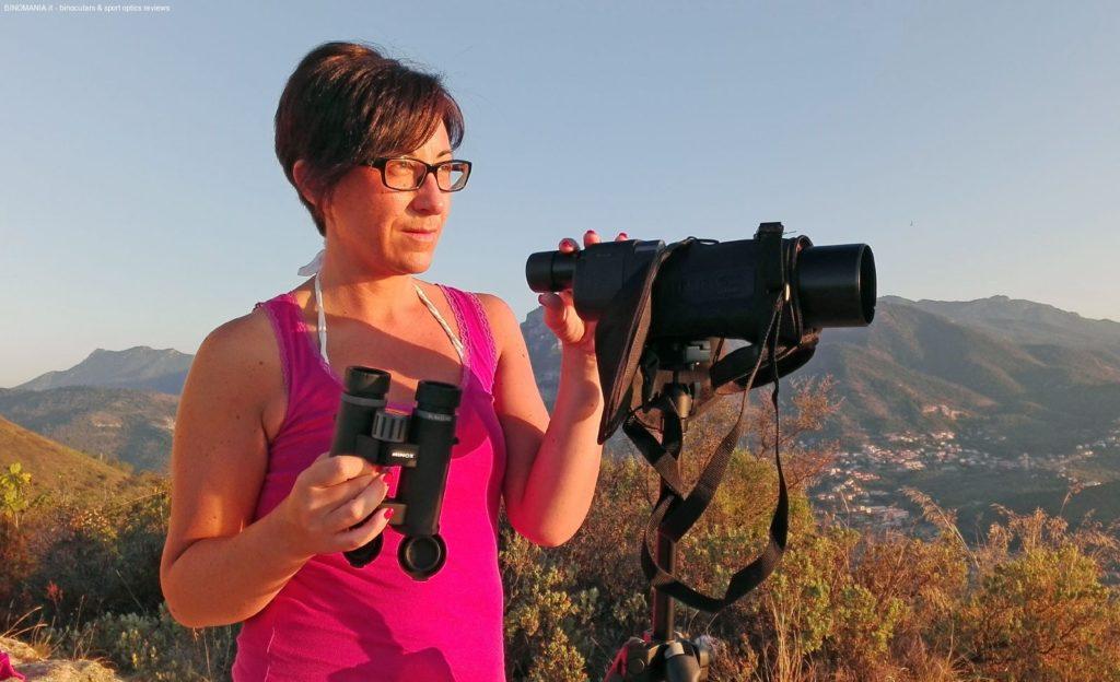 mia moglie Simona, durante una giornata di osservazione in Liguria