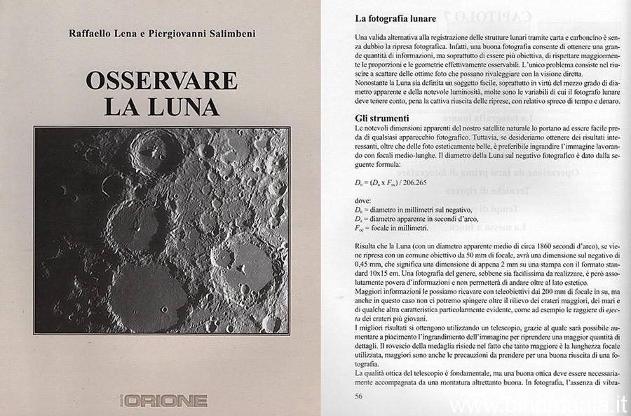 """Copertina del libro """"Osservare la Luna"""" di Piergiovanni Salimbeni e Raffaello Lena"""