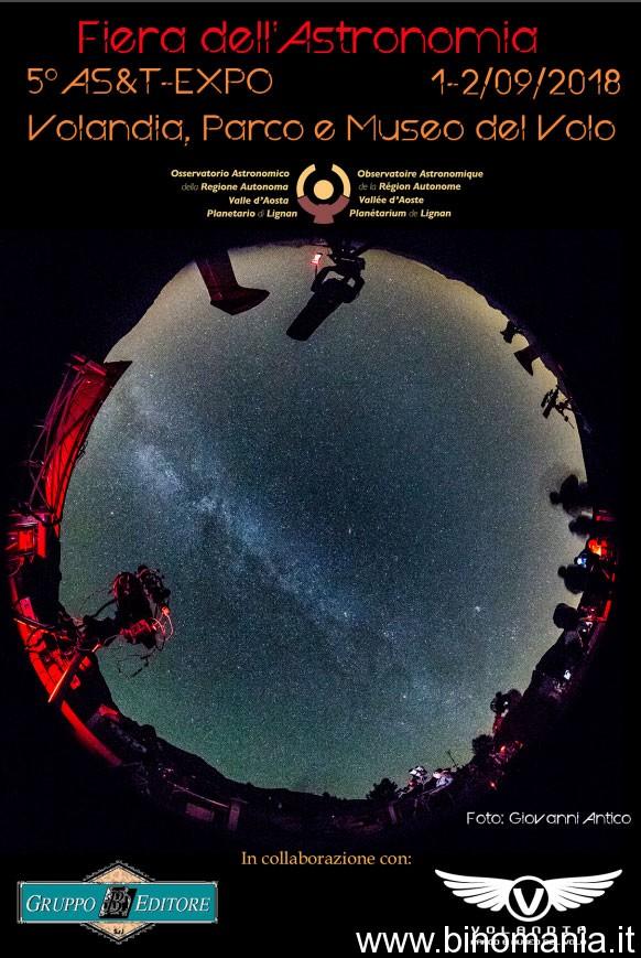La locandina della Fiera dell'Astronomia che si terrà a Volandia nei giorni 1-2 Settembre 2018