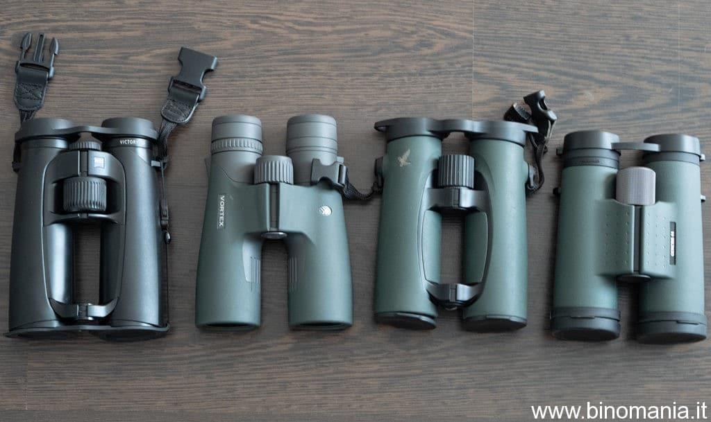 da sinistra: Zeiss Victory SF 8x42, Vortex Razor UHD 8x42, Swarovski EL 8.5x42, Kowa Genesis 10.5x44