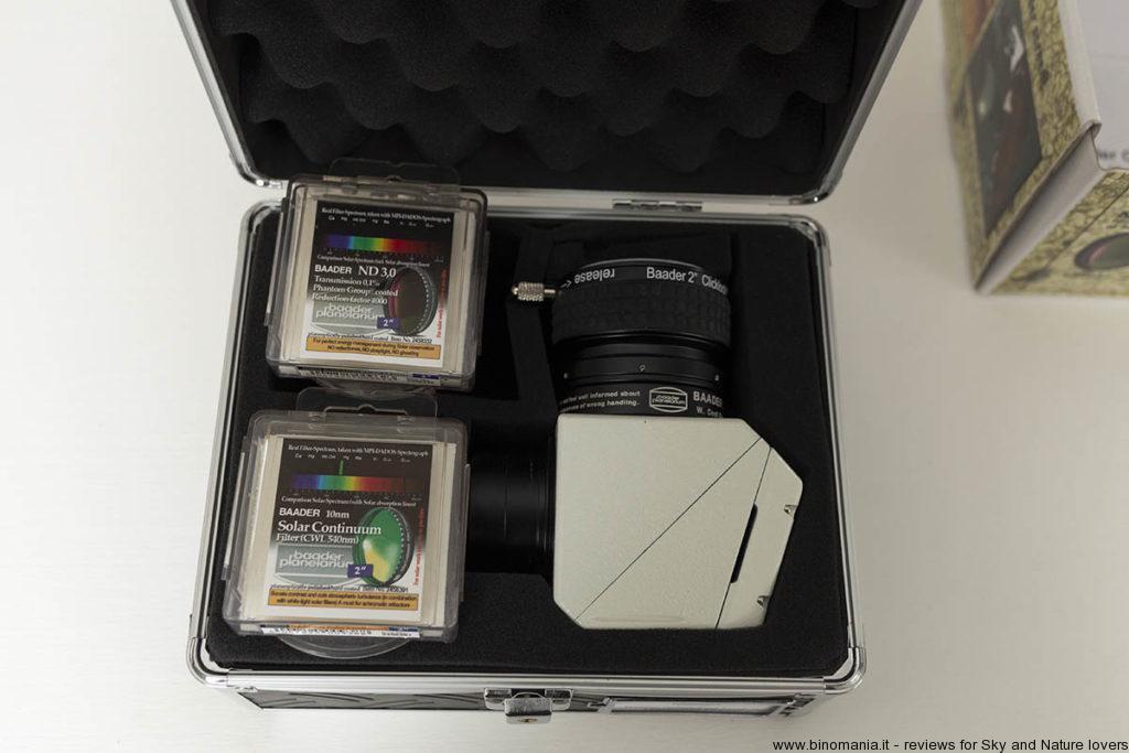 La valigia che contiene il prisma di Herschel della Baader Planetarium